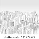 big black and white city... | Shutterstock .eps vector #141979579