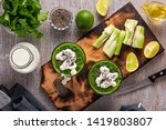 spinach and celery smoothies... | Shutterstock . vector #1419803807