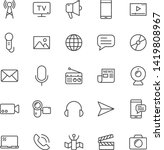 mass media outline vector icons ...