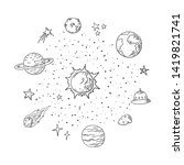 Doodle Solar System. Trendy...