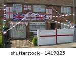 Decorated house in England colours ready for World Cup - stock photo