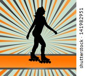 Skater silhouette in front of burst vector background