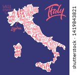 silhouette of the map of italy... | Shutterstock .eps vector #1419843821