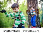 twin bothers climbing in... | Shutterstock . vector #1419867671