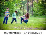 young woman mother applying... | Shutterstock . vector #1419868274