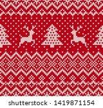 christmas knit geometric... | Shutterstock .eps vector #1419871154