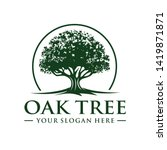 oak tree logo template vector | Shutterstock .eps vector #1419871871