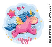 flying pink unicorn with a... | Shutterstock .eps vector #1419932387