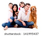 Stock photo happy family with a dog isolated over a white background 141995437