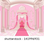 Interior of the Throne room of magic castle - stock vector