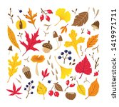 set of colorful autumn leaves ... | Shutterstock .eps vector #1419971711