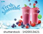 mix berry smoothie ads with... | Shutterstock .eps vector #1420013621