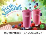 mix berry smoothie ads with... | Shutterstock .eps vector #1420013627