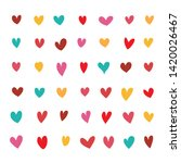 set of colourful doodle heart... | Shutterstock .eps vector #1420026467