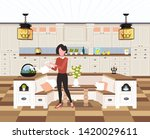 housewife pouring water in... | Shutterstock .eps vector #1420029611