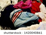 pile of clothes. closedup of...   Shutterstock . vector #1420040861