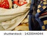 pile of clothes. closedup of...   Shutterstock . vector #1420044044