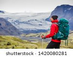 adventurous man walking on... | Shutterstock . vector #1420080281
