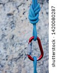 rope knot with red carabiner... | Shutterstock . vector #1420080287
