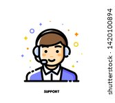icon of cute boy with headset... | Shutterstock .eps vector #1420100894