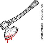 a sharp axe with blood dripping ... | Shutterstock .eps vector #1420102721