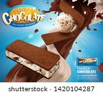vanilla chocolate ice cream ads ... | Shutterstock .eps vector #1420104287