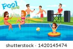 summer pool party flat vector... | Shutterstock .eps vector #1420145474