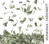 dollars bills falling on heap... | Shutterstock . vector #1420146077