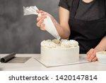 Confectioner At Work. Cream...