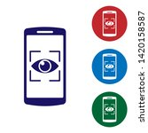 blue mobile phone and eye scan... | Shutterstock .eps vector #1420158587