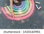 Kids Paint Outdoors. Portrait...