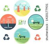 renewable energy vector badges...   Shutterstock .eps vector #1420177931
