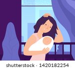 depressed woman and newborn.... | Shutterstock .eps vector #1420182254