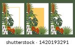 tropical plants and flowers ... | Shutterstock .eps vector #1420193291