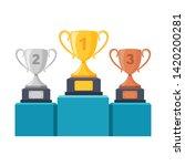 gold  silver  bronze trophy cup ...   Shutterstock .eps vector #1420200281