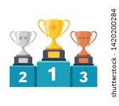 gold  silver  bronze trophy cup ...   Shutterstock .eps vector #1420200284