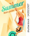 retro poster with a girl on a... | Shutterstock .eps vector #142021507