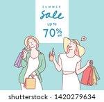 happy young women in summer... | Shutterstock .eps vector #1420279634
