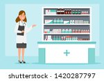 pharmacy with pharmacist and... | Shutterstock .eps vector #1420287797