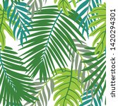bright summer tropical leaves... | Shutterstock .eps vector #1420294301