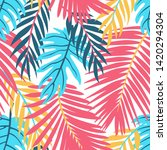 bright summer tropical leaves... | Shutterstock .eps vector #1420294304