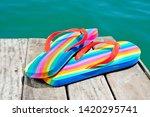 closeup of a pair of rainbow...   Shutterstock . vector #1420295741