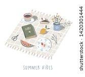 hand drawn summer picnic... | Shutterstock .eps vector #1420301444