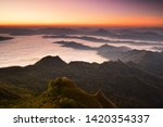 beautiful sunrise and mist at... | Shutterstock . vector #1420354337