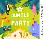 jungle party. cute exotic... | Shutterstock .eps vector #1420368881