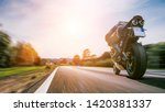 motorbike on the road riding.... | Shutterstock . vector #1420381337
