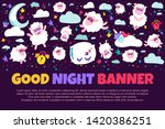 good night banner with flat...