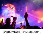 young teenager girl fan raised... | Shutterstock . vector #1420388084
