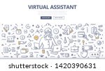 woman virtual assistant with... | Shutterstock .eps vector #1420390631