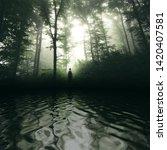 Man In Forest Lake Landscape...